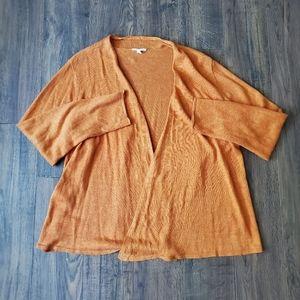 Eileen Fisher Plus Size Orange Open Front Cardigan
